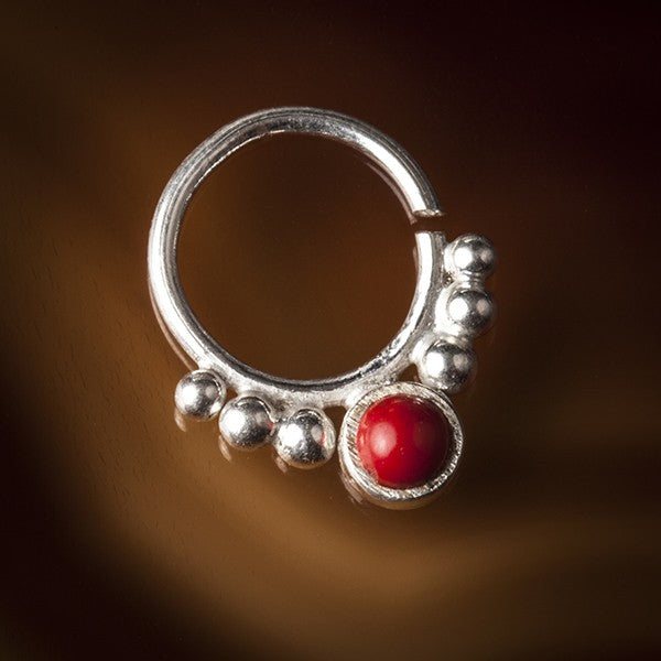 silver septum ring red coral