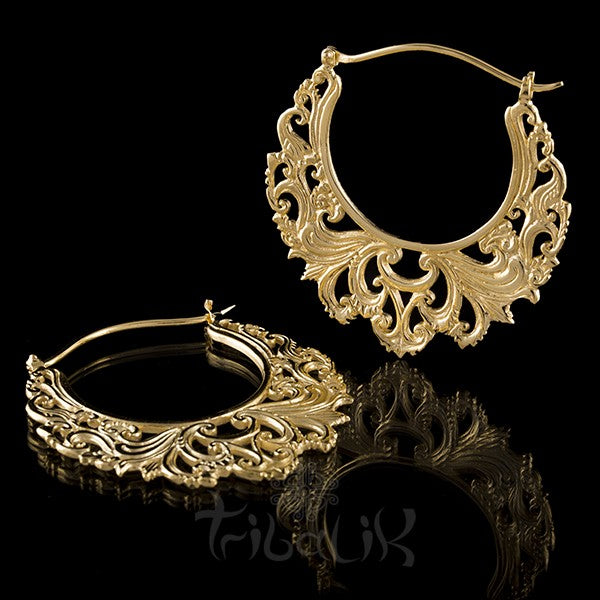 22K Gold Plated LIKE THE RIVER LargeHoop Earrings