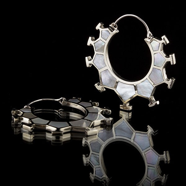 white brass mother of pearl hoops