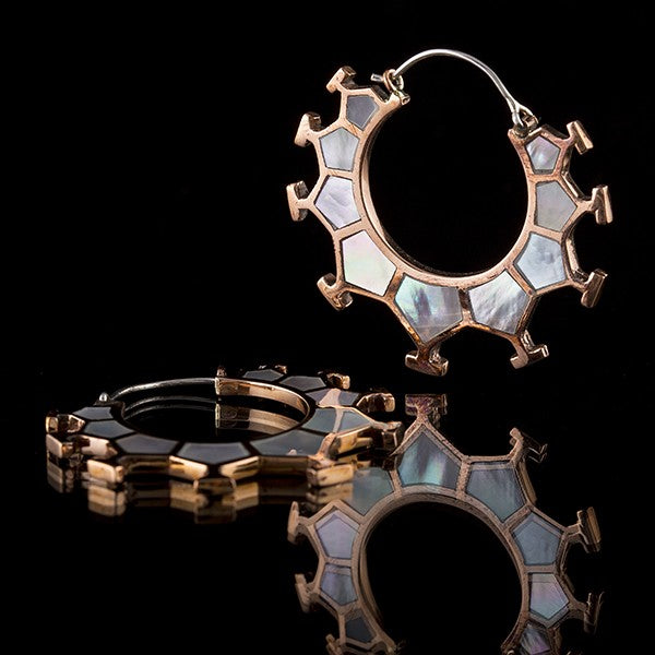 Honeycomb Copper & Mother Of Pearl Shell Earrings, Small- Marama