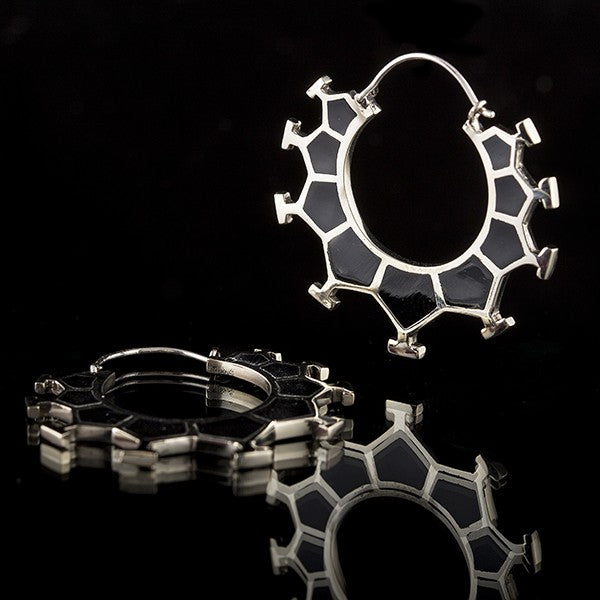 Honeycomb White Brass & Black Resin Earrings, Small- Marama
