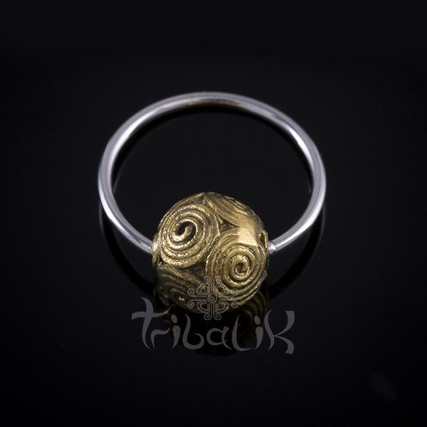 Stainless Steel and Brass Sphere Body Ring