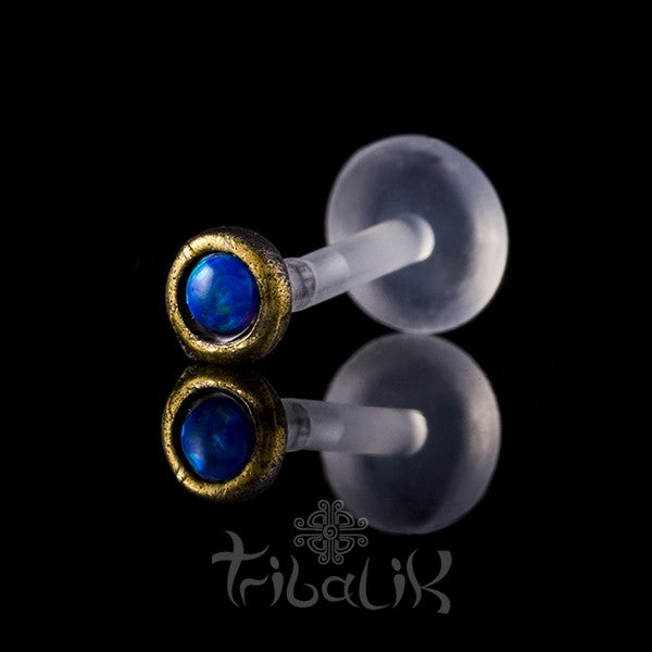 Brass Blue Stone Labret/Tragus Stud