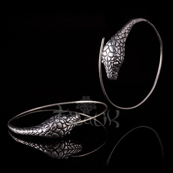 Python Head Silver Hoop Earrings