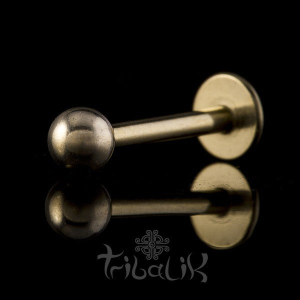 Gold Plated Stainless Steel Ball Labret | Lip Bar