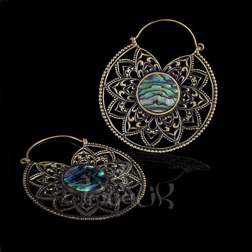 Brass & Abalone Shell Mandala Hoop Earrings
