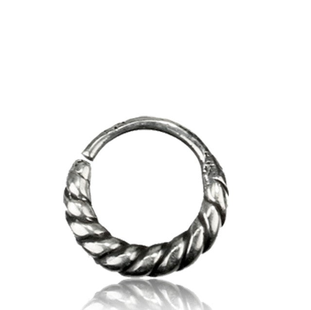 Silver Septum Ring for Pierced Nose - 1mm