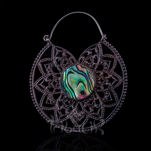 Gunmetal Hoop Earrings Mandala & Abalone Shell- Eternal