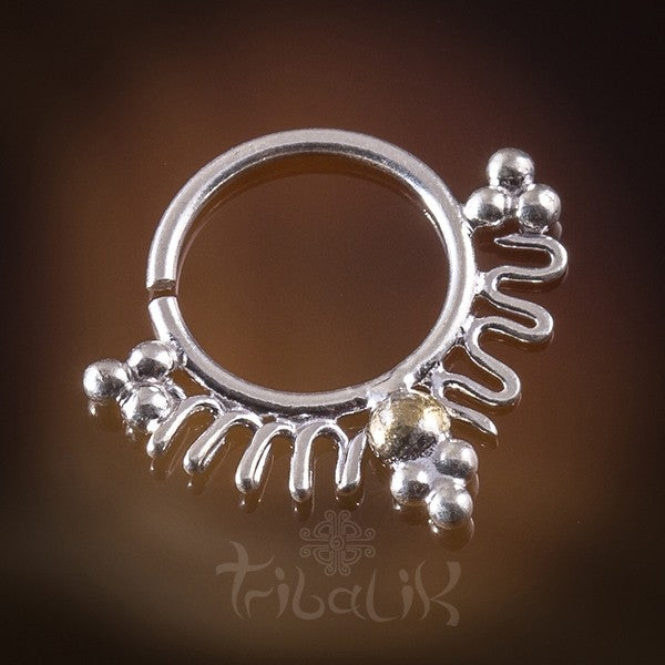 Ixkin Silver Septum for Pierced Nose - 1.2mm