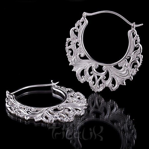 Silver Plated 'LIKE THE RIVER' Large Hoop Earrings