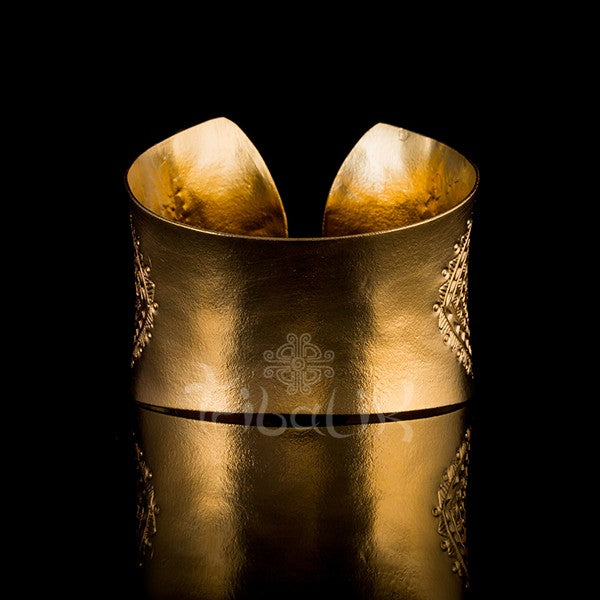 18k Gold Plated Cuff | Large Tribal