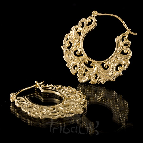 22K Gold Plated DIVINE CROWN Small Hoop Earrings