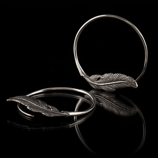 Silver Feather Hoop Earrings for 2mm Stretched Ears - 12g Earrings