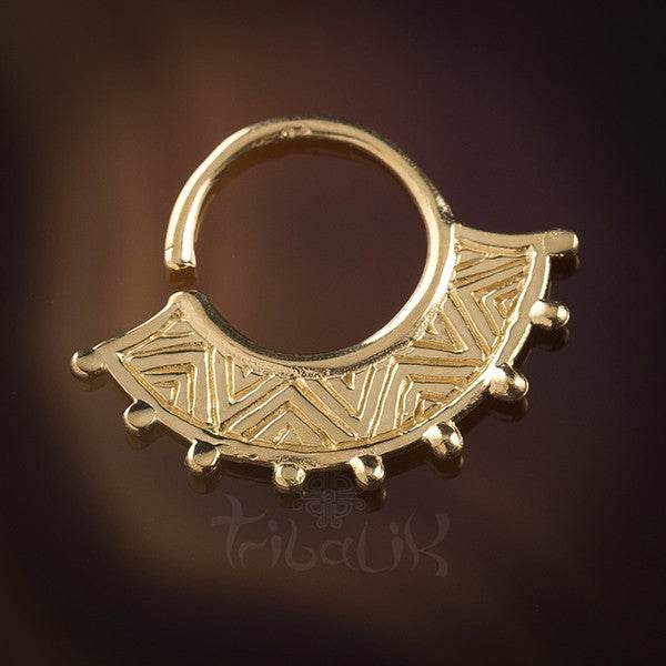 Inti Inca Fan Gold Plated Silver Septum Ring for Pierced Nose - 1mm 18g