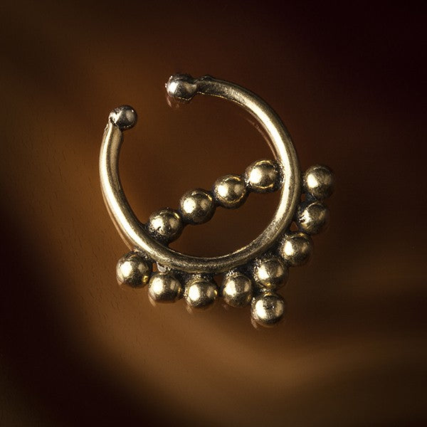 Brass Faux / Fake Septum Ring - Clip On - Piaroa