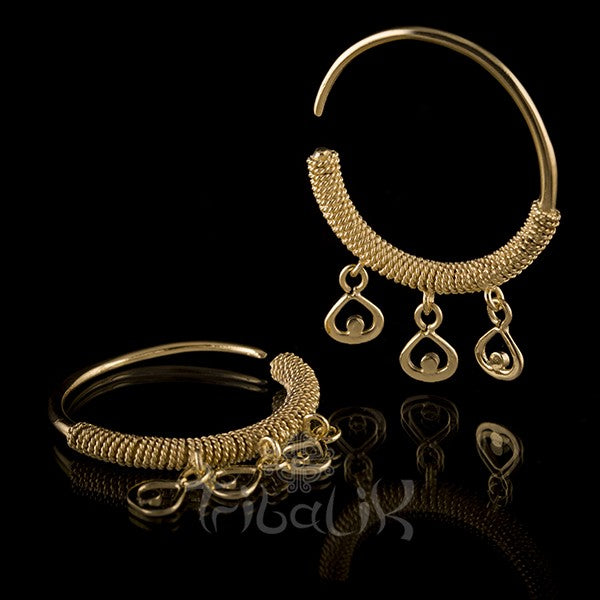 Borneo Style 18K Gold Plated Brass Earrings