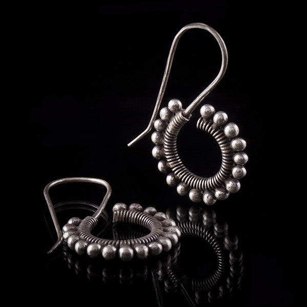 Ornate Silver Spiral Drop Earrings