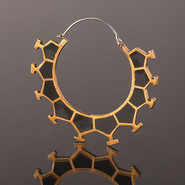 MARAMA Honeycomb Copper & Black Resin Earrings - Large