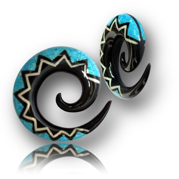 Horn And Turquoise Inlaid Ear Expander