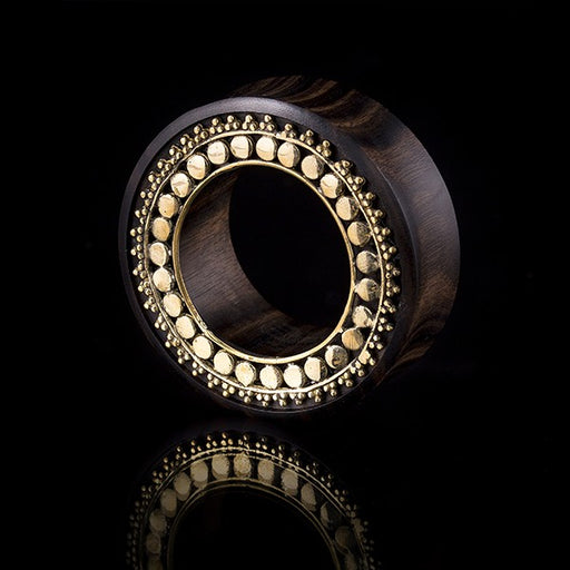 Afghan Organic Ebony and Brass  Ear Tunnel -Eyelet