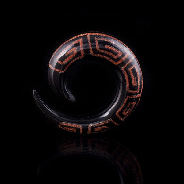 Aztec Horn Ear Stretcher Inlaid with Red Coral