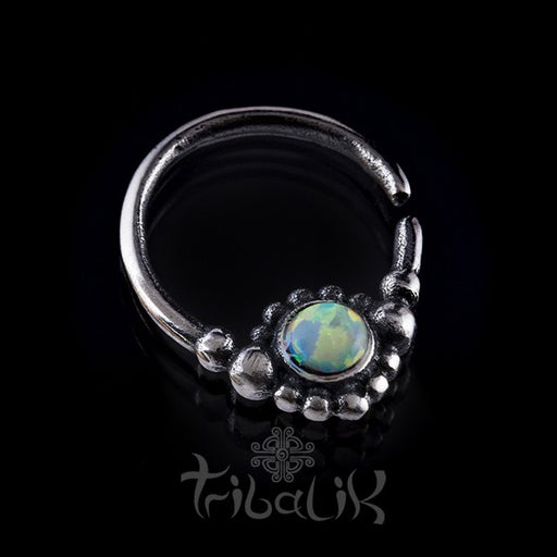 Silver Opal Septum Ring For Pierced Nose