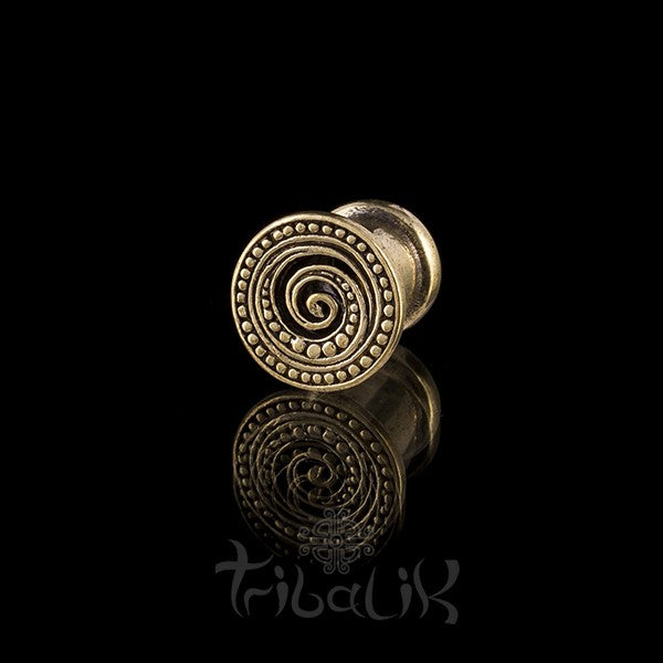 SHANOA Dotted Spiral Brass Ear Plug - Tunnel