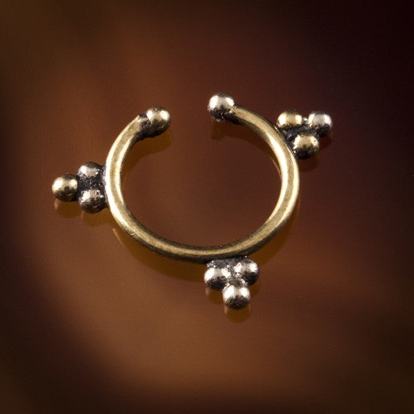 Lokono Faux / Fake Brass Septum Ring - Clip on