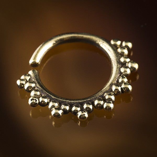 Sun Ray Brass Septum Ring for Pierced Nose - 1.6mm & 1mm