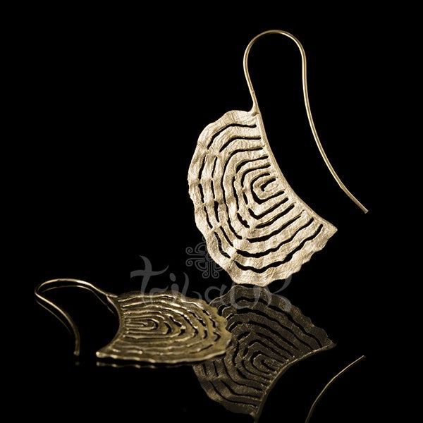 Gold TRIBAL SATIN FINISH WAVEY HOOK EARRINGS
