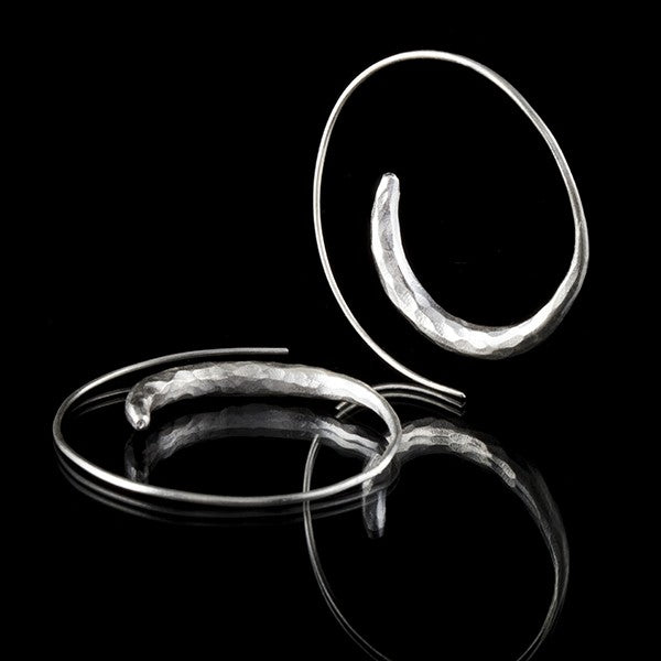 Karen Tribe Silver Spiral Hoop Earrings