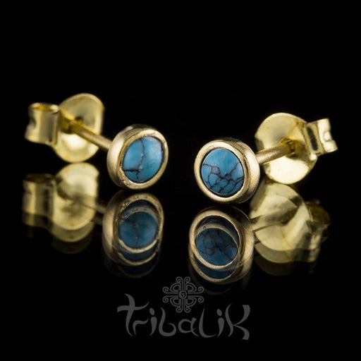 Brass and Turquoise Stud Earrings