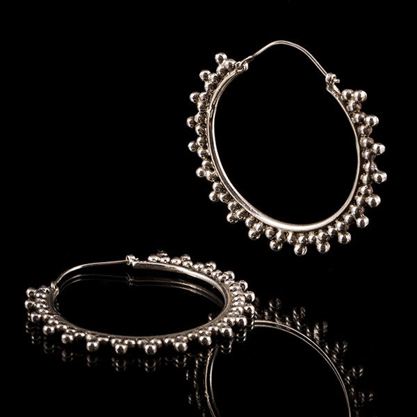 Afghan Sterling Silver Earrings- Dotted Hoops