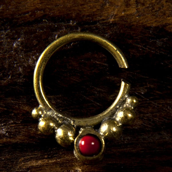 Eka Red Coral Brass Septum Ring for Pierced Nose - 1mm