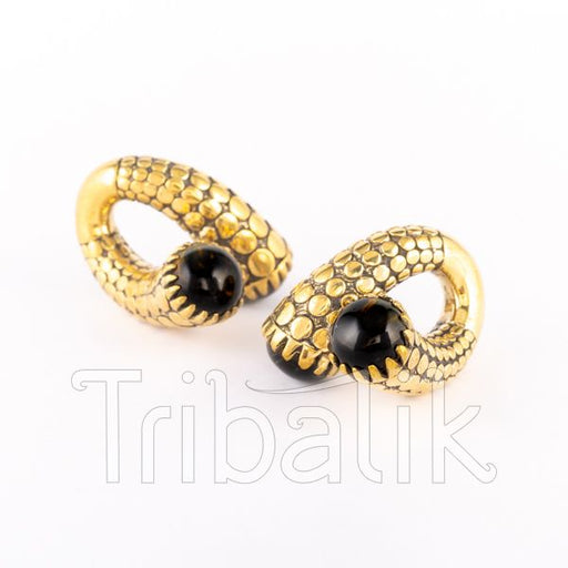 gold ear weights tigers eye