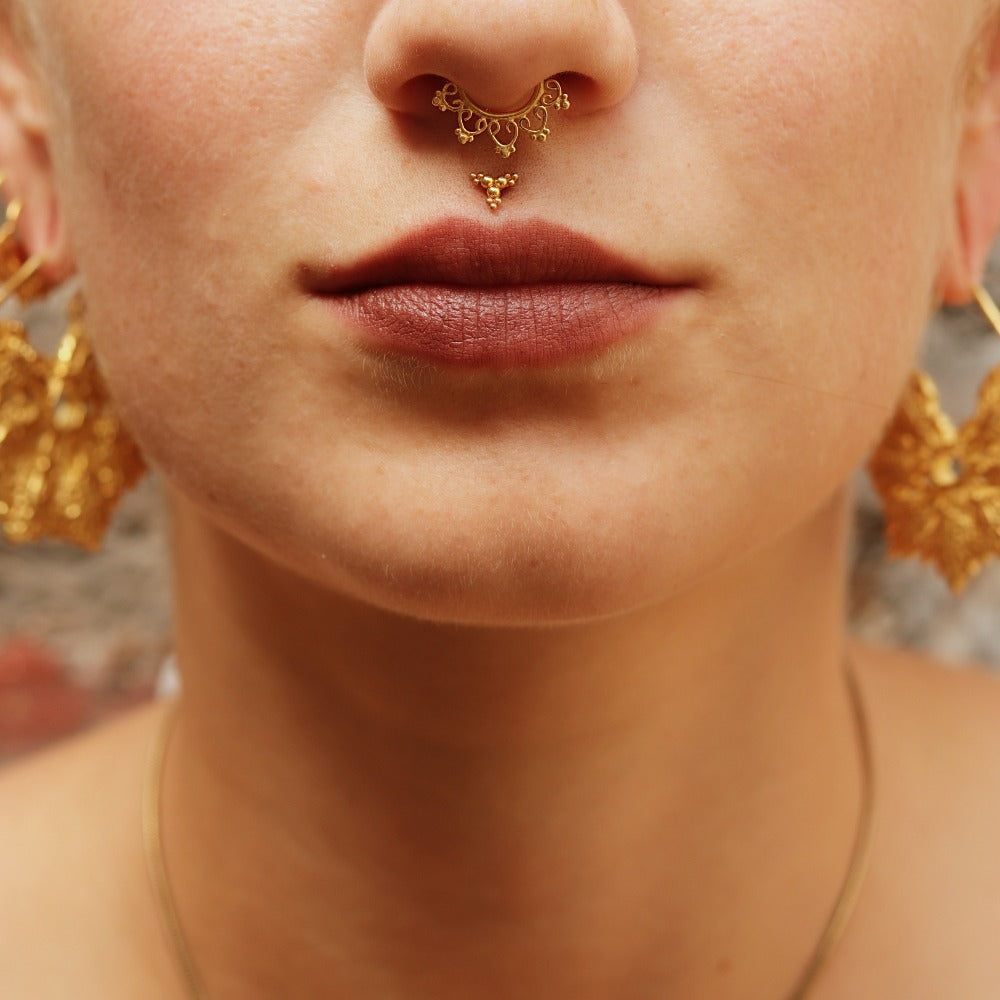 Flower Mandala Faux / Fake Gold Plated Septum Ring - Clip on