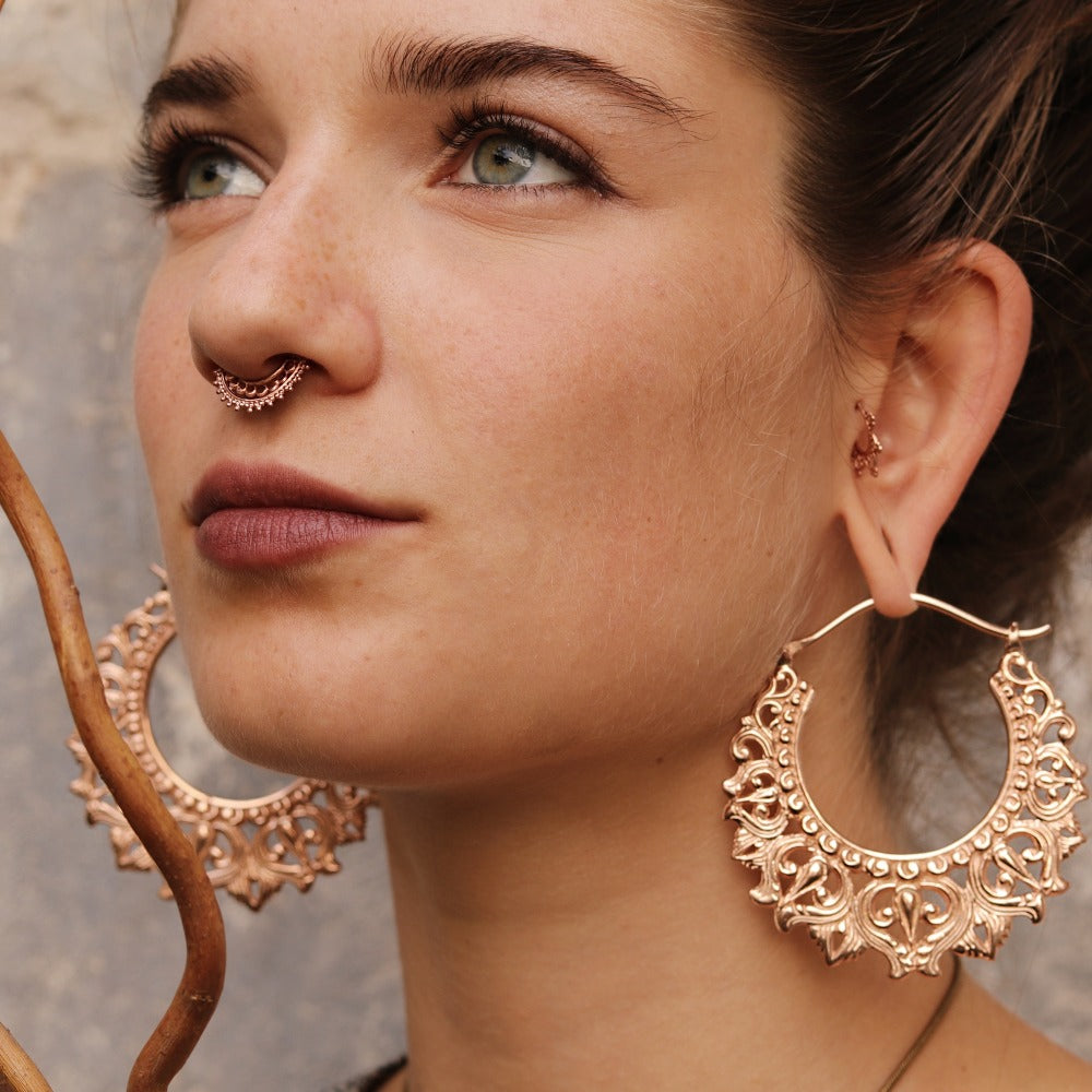 Afghan Rose Gold Plated Fake Septum Ring for Non-Pierced Nose - Clip on