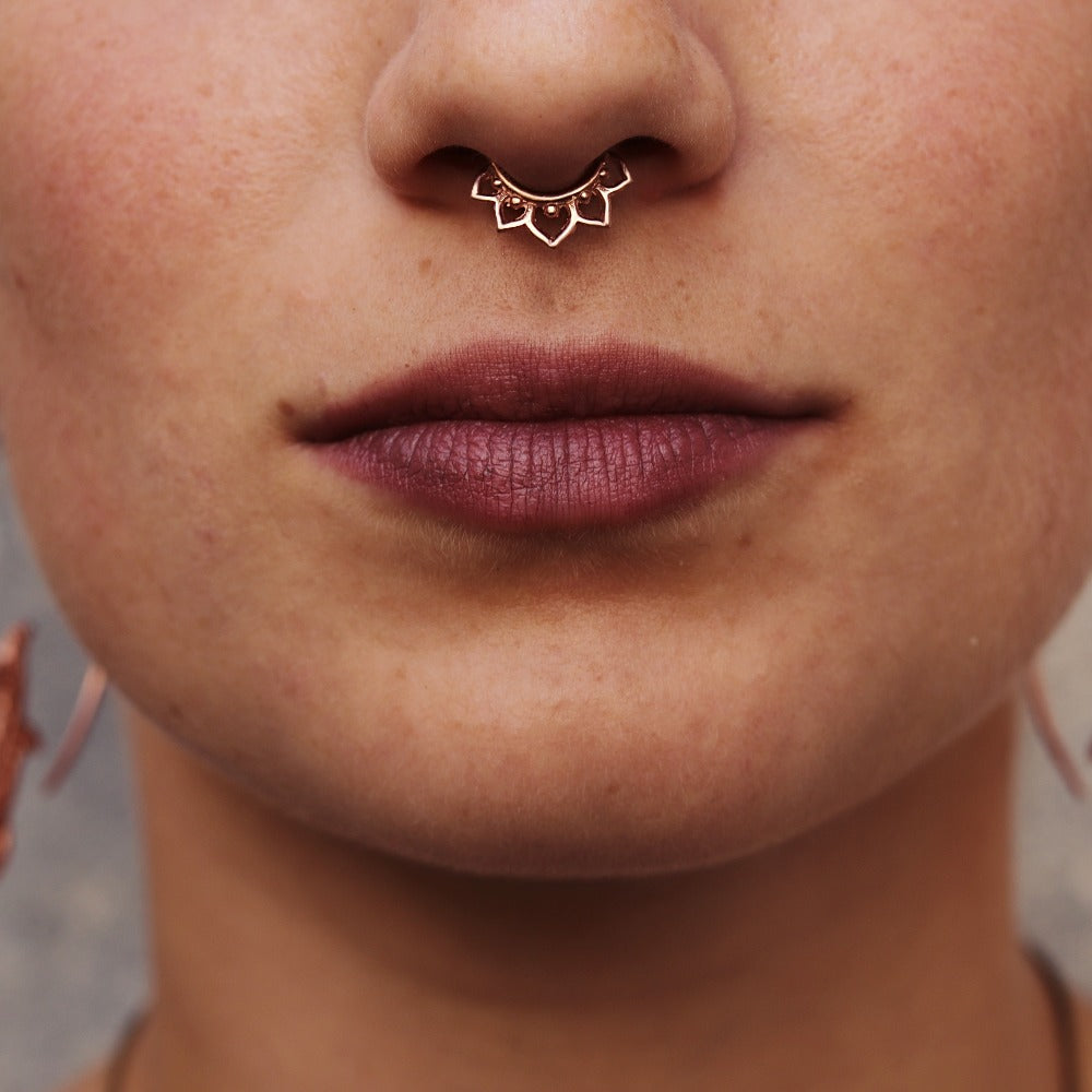 Lotus Flower Faux / Fake Rose Gold Plated Septum Ring - Clip on