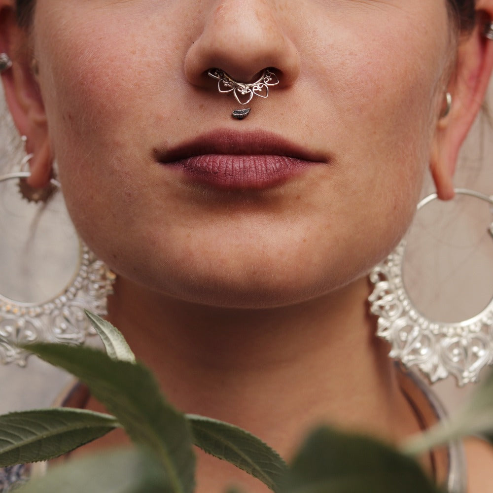 Heart Mandala Gold Plated Septum Ring
