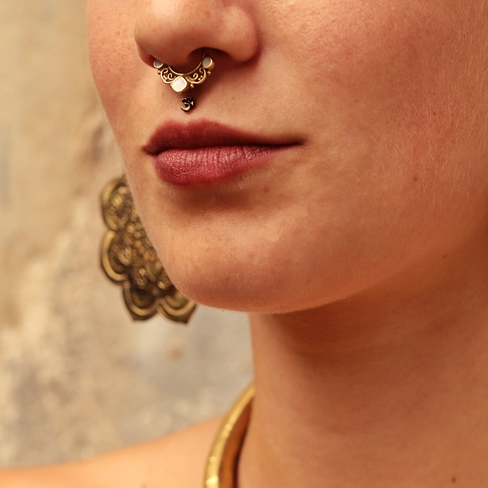 Tri- Pearl Faux / Fake Brass Septum Ring - Clip on