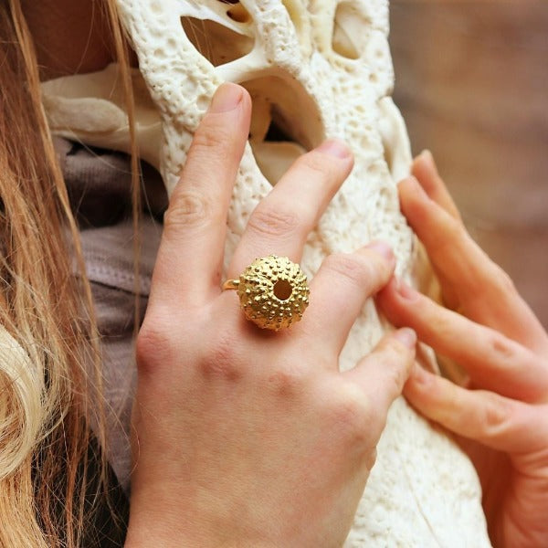 18K Gold Plated Sea Urchin Ring