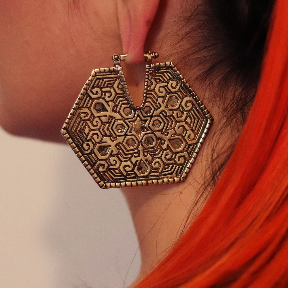 Copper Earrings Ear Weights- Shipibo dream