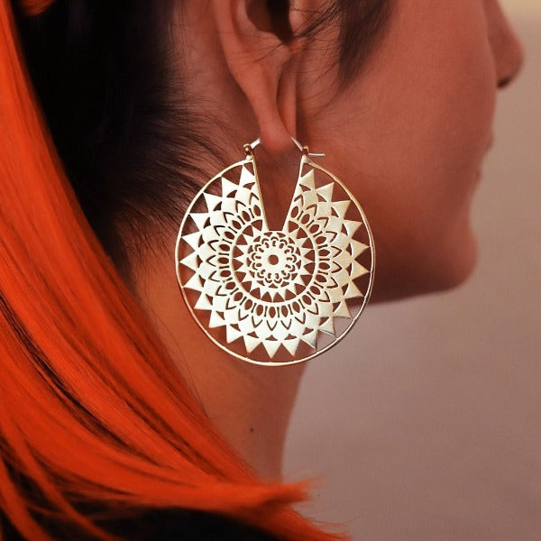Silver Mandala Hoop Earrings- Endless Summer