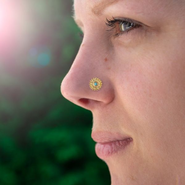 Threadless Nose Stud Gold Plated Mandala with Turquoise Stone