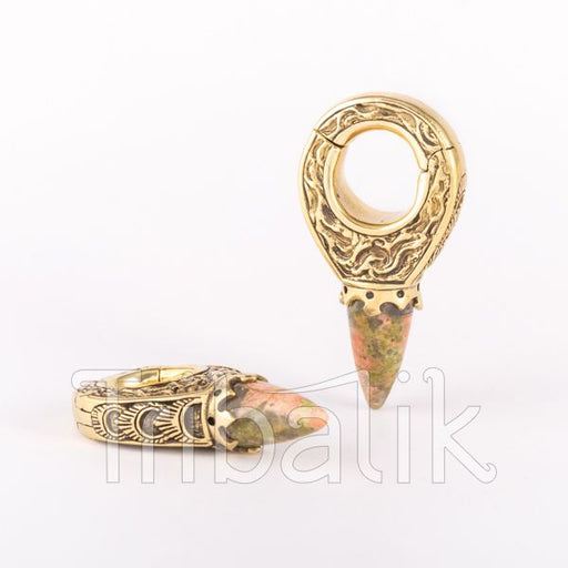 Brass and Stone Ear Weights