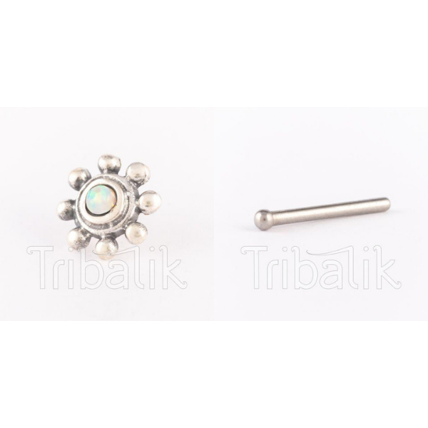 Silver Threadless Nose Stud with Opalite Stone