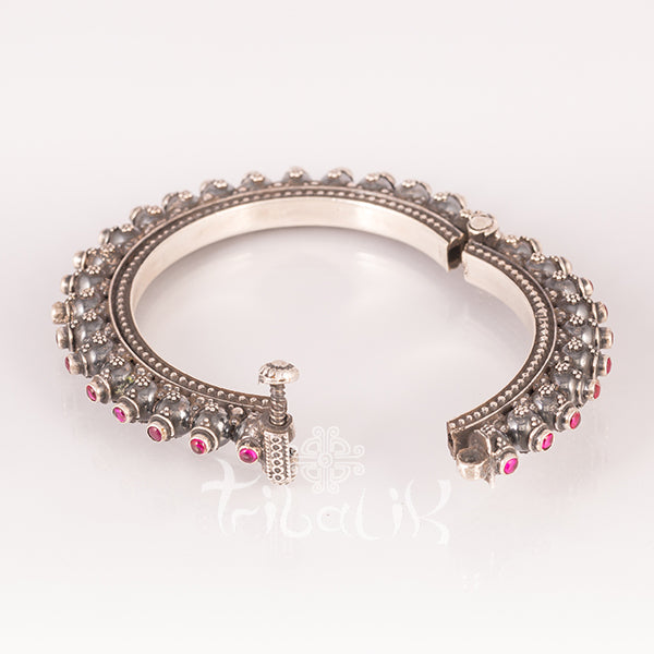 SOLD OUT! Rajasthani Solid Silver Tribal Bracelet with Tourmaline Stones