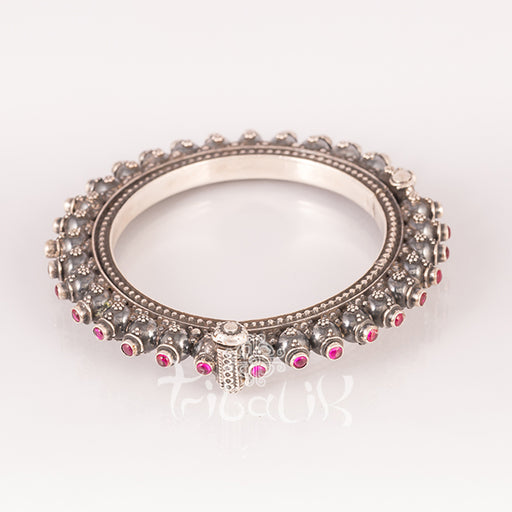 Rajasthani Solid Silver Tribal Bracelet with Tourmaline Stones