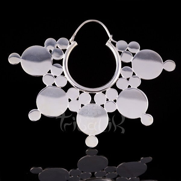 Silver Plated Flat Disc Afghan Mandala Hoop Earrings