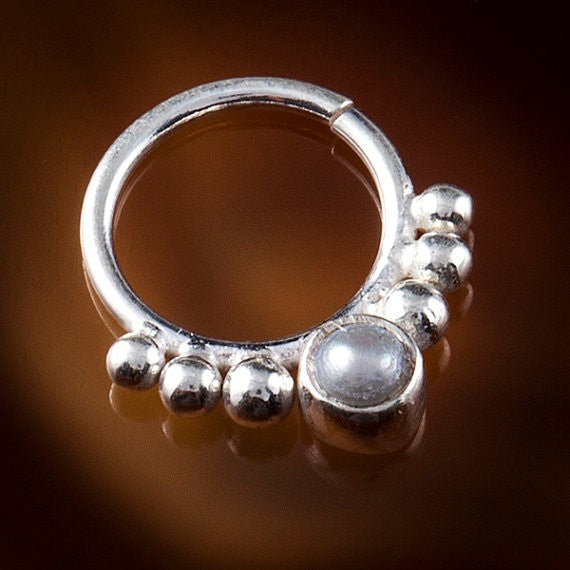 Eka Pearl Silver Septum Ring for Pierced Nose - 1mm